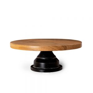 Acacia Wood Cake Stand, Brown, 12 Inch
