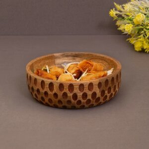 Wooden Salad Bowl, 7 Inch, Brown