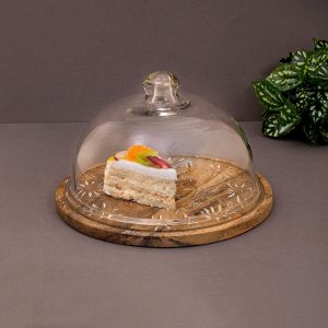 Glass Dome with Handpainted Wood Base, 10.5 Inch