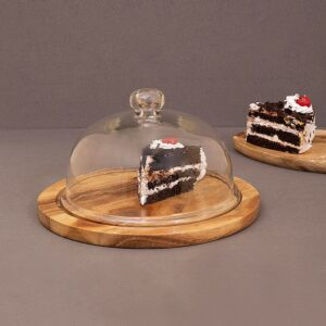 Glass Dome with Natural Wood Base, 10 Inch