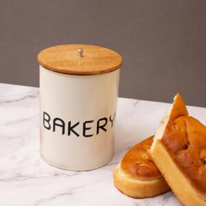 Metal Canister Storage Jar Barrel with Wooden Lid, 6 x 6 x 8.5 Inch