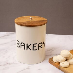 Metal Canister Storage Jar Barrel with Wooden Lid, 6 x 6 x 7.5 Inch
