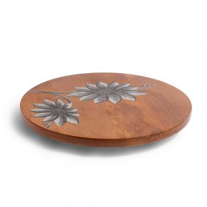Handpainted Floral Theme Natural Wood Lazy Suzan, 14 Inch